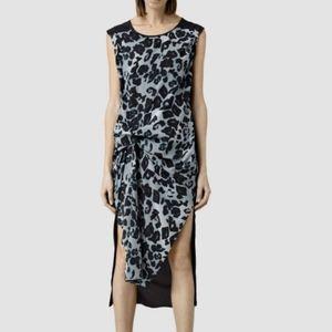 All Saints Riviera Leo Leopard Silk Dress US 6